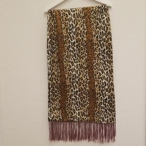 58 Inches Long Leopard Brown Black Silk Scarf